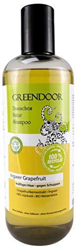 500ml Greendoor basisches Natur Shampoo Ingwer Grapefruit Männer-Shampoo kräftiges Haar gegen Schuppen, outdoor Aus Bio Ölen OHNE Silikon Sulfate Parabene, natürlich vegan Haarpflege men Naturkosmetik