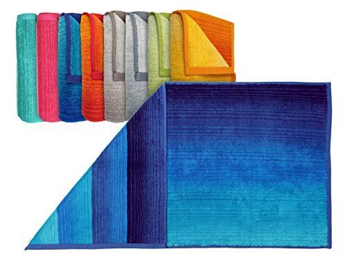 """Bio-Handtuchserie \""""Colori\"""" - erhältlich in 6 brillanten Farbkombinationen und 3 verschiedenen Größen - hochwertig verarbeitet und mit praktischem Kordelaufhänger, Duschtuch 70 x 140 cm, blau"""