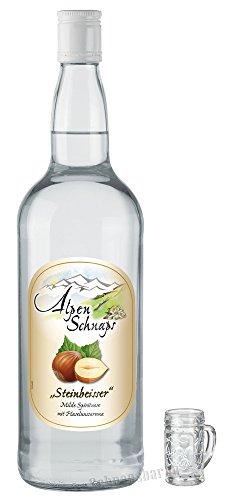 Alpenschnaps Steinbeisser Haselnuss 1,0 Liter incl. Stampl