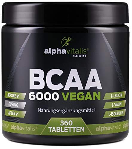 BCAA 6000 vegan - 360 Tabletten á 1000 mg reine BCAAs - ohne Magnesium Stearat - glutenfrei - laktosefrei - essentielle Aminosäuren für Sportler EINWEG