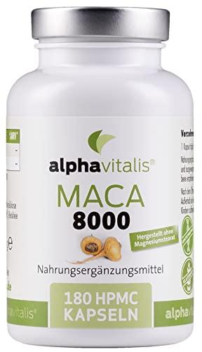 Maca Gold 8000 - 180 Maca Kapseln 20:1 Extrakt - vegan - ohne Magnesiumstearat - hochdosiert und in Premiumqualität - 6 Monate Versorgung EINWEG