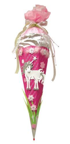 Unbekannt BASTELSET Schultüte Einhorn 85 cm - 6 - eckig - mit Holzspitze Zuckertüte - Komplettset für Mädchen