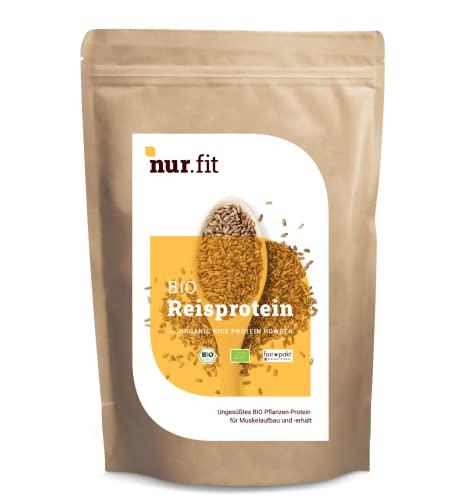Nurafit BIO Reisprotein-Pulver, Vegan Superfood ohne Zusatzstoffe, rein natürlich, zertifizierte Spitzenqualität nach DE-001-ÖKÖ, Eiweiß für Sport und Fitness, 1000g / 1kg, 86{834a0360d9429091d3e833563cc5f4264ea920ec179b33f29f347d93c564fc32} Proteingehalt