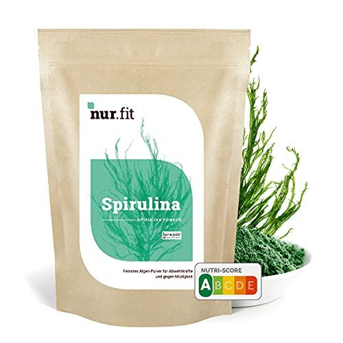 Nurafit Spirulina Pulver I Natürliches Superfood mit essentiellen Aminosäuren Proteinen   Vegan Alge Green-Smoothie-Pulver I 1000g / 1kg