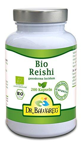 BIO-Reishi/Ling Zhi - 200 Vegi-Kapseln - Ganoderma lucidum, reines Fruchtpulver ohne Zusätze- Dr. Bawareg
