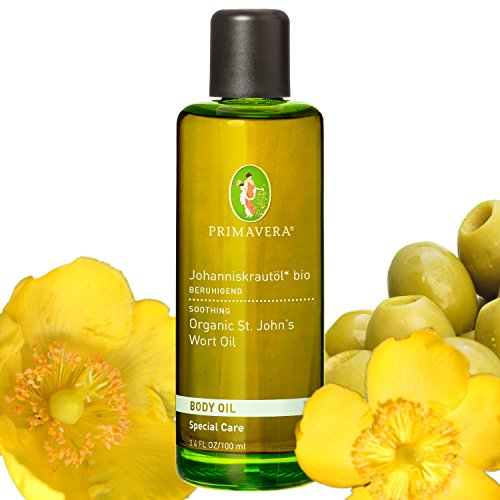 Primavera Bio Öle / Körperöl / Massageöl mit 100 {714aa976afa442de9a11790ef0352270a91c05f20c2642fd46f9206a07fb2d58} naturreinen ätherischen Ölen, Duft:Johanniskrautöl Bio