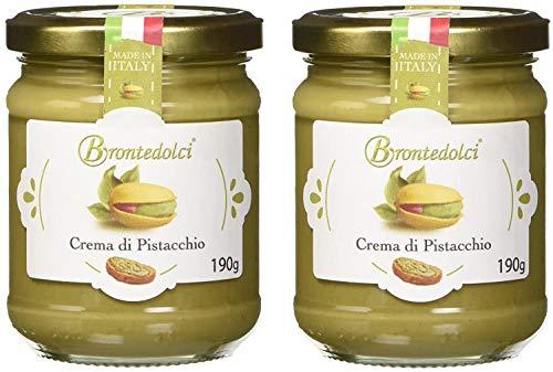 2 Stück - Brontedolci Pistaziencreme süß mit 40{bd8ddd812e8f948ba42bc999570c0dee01e3eaf0dd1d6cfabc6946a18fd04998} Pistazien aus Sizilien (Ätna) 2x 190g
