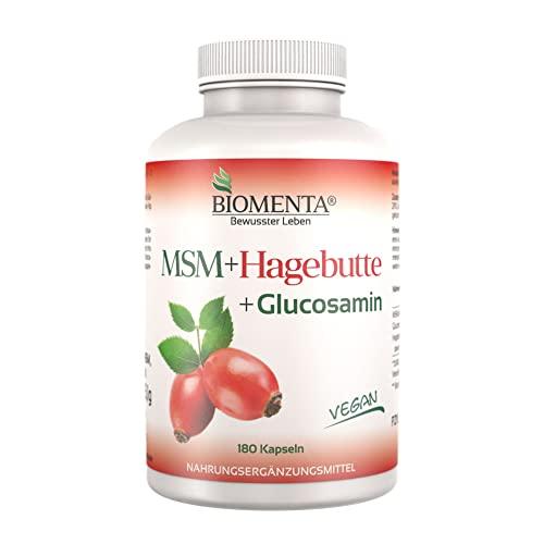 BIOMENTA MSM Schwefel + Hagebuttenpulver + Glucosamin | AKTION!!! | 3 Monatskur | VEGAN | 180 MSM Kapseln hochdosiert | Gelenkkapseln bei Gelenk Schmerzen - Anti Pickel Tabletten bei Akne