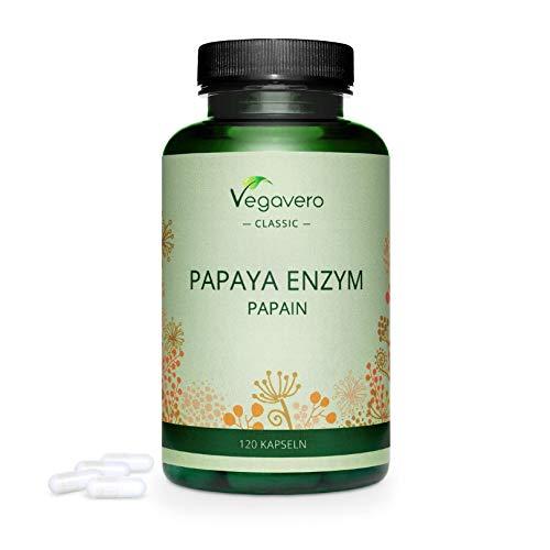 VEGAVERO® Papaya Enzym Hochdosiert | PREIS-LEISTUNGS-SIEGER 2019* | 120 Kapseln | 1500 mg Papain pro Tagesdosis | Ohne Zusatzstoffe | Laborgeprüft | 40-Tage Kur | Vegan