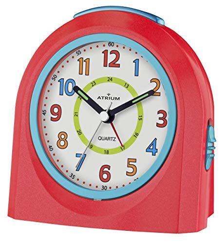 ATRIUM Wecker analog rot/blau ohne Ticken mit Licht und Snooze, Schlummerfunktion Quarz-Wecker A921-1