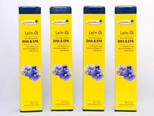 Adrisan BIO-Leinöl mit DHA, 4er Pack (4x 250 ml) mit Dosierer, natives Speiseöl aus 1. Kaltpressung