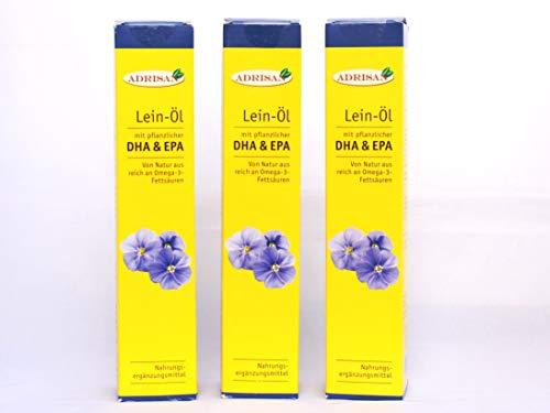 Adrisan BIO-Leinöl mit DHA+EPA, 3er Pack (3x 250 ml) mit Dosierer, natives Speiseöl aus 1. Kaltpressung (750)