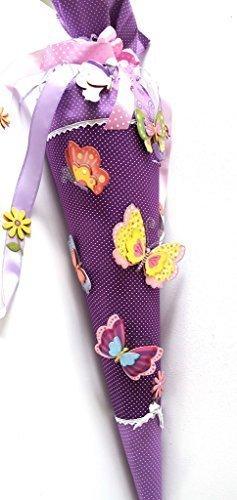Schultüte Bastelset Schmetterlinge,85 cm selbstklebende Schultüte mit Zubehör
