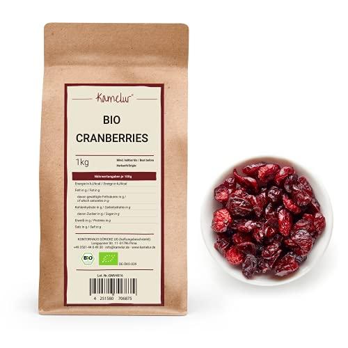 1kg BIO Cranberry getrocknet - Aromatische Cranberries ungezuckert und ungeschwefelt, mit der natürlichen Süße aus Apfelsaft