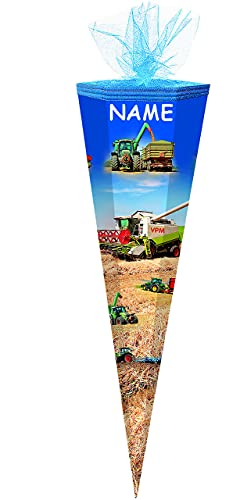 alles-meine.de GmbH Schultüte -  Traktor / Landmaschinen  - 85 cm - 6-eckig - incl. Namen - Tüllabschluß - Zuckertüte - mit / ohne Kunststoff Spitze - für Jungen / Mähdrescher ..