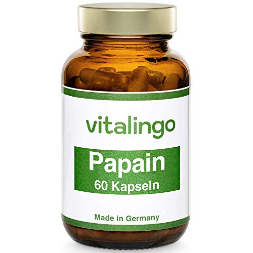 Papain Enzym Kapseln (mind. 35 Mio. USP units/g) VEGAN & hochdosiert - 60 Stück Papain Kapseln a 500 mg (400mg Papain und 100mg Kapselhülle aus Methylcellulose)