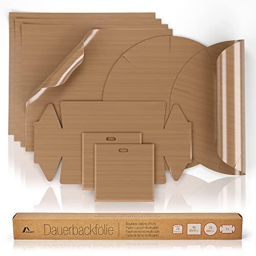 Amazy Dauerbackfolie (7er Set) – Das Premium Backpapier – Wiederverwendbar, hitzebeständig, antihaftbeschichtet und spülmaschinenfest (7er Pack – 4 x eckig, 2 x Springform rund, 1x Kastenform)