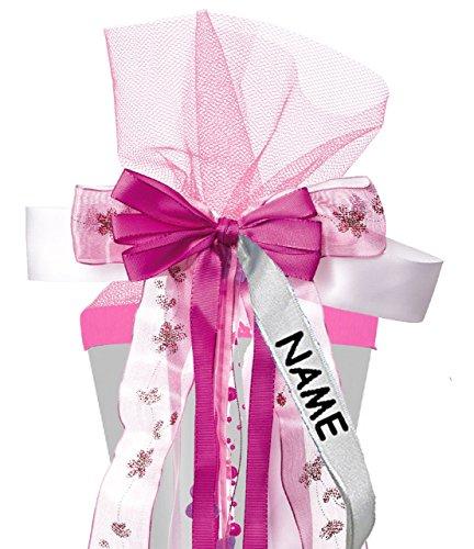 alles-meine.de GmbH große 3-D Schleife für Schultüten -  rosa & pink  - incl. Name / Text - 24 cm breit u. 55 cm lang - mit edlen Satin Bändern, Tüll & Perlenband - für Geschen..
