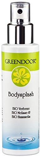 Greendoor Body Splash, natürliches veganes Körper Erfrischungs-Spray 100ml, Körper-Spray ohne Aluminium, Körperdeo Bodysplash mit Bio Zitronen-Verbene, Naturkosmetik aus der Manufaktur, Natur