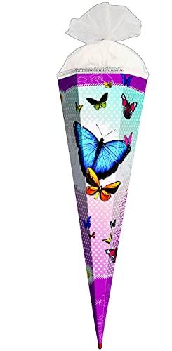 alles-meine.de GmbH Schultüte -  Bunte Schmetterlinge  - 35 cm - rund - mit Tüllabschluß - Zuckertüte Roth - mit / ohne Kunststoff Spitze - für Mädchen / Geschenktüte - Schmett..