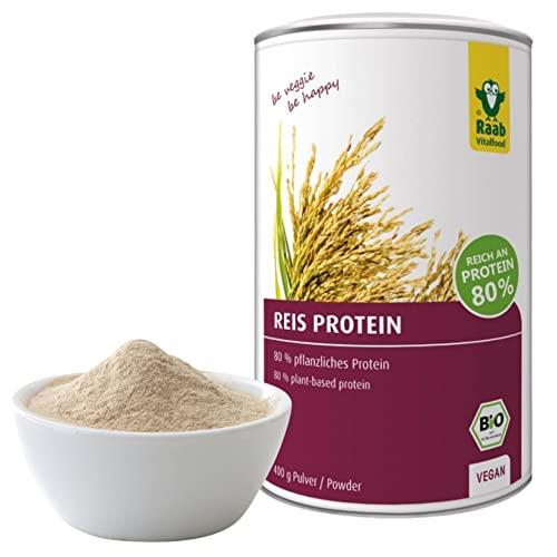 Raab Vitalfood Bio Reis-Protein Pulver mit 80 {3e5083fc52cd2a7341890b652e32d0772099053546ab6ab23f09e3ded37a8ff0} pflanzlichem Eiweiß, aus biologischem Anbau, vegan, laborgeprüft in Deutschland, für Shakes, 400 g