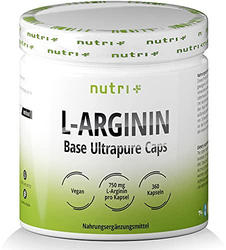 L-ARGININ BASE KAPSELN - Höchste Dosierung - 99{9e9069e4c5f49c3f24e461b0c483e78055761037a0812282af260fdbf20ab2e0} reines L-Arginine - 360 Caps ohne Magnesiumstearat - Premiumqualität hergestellt in Deutschland - Nutri-Plus Vegan Sports