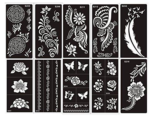 Aktion! Tattoo Schablonen 10 Sheets Set G für Körper für Henna, Glitter Tattoo und Air Brush Tattoo geeignet