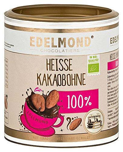 Heiße Bio Kakaobohne für Trinkschokolade ohne Zucker von Edelmond. Vollkakao - kein Pulver! Zum Zartbitter- Herrenschokolade Heißgetränk selbst machen. 250 GR