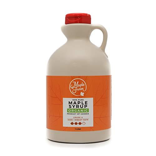 BIOLOGISCHER Ahornsirup Grad A (Dark, Robust taste) - 1 Liter (1,350 Kg) - Organic Maple Syrup - BIO Ahornsirup - VEGAN