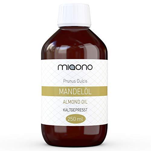 Mandelöl (250ml) - 100{74ac0420a73ecba64355afc58328f2b6fb6037de616bc46bbb839bdd7eaf51b5} reines kaltgepresstes Öl in einer Glasflache von miaono
