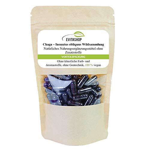 Chaga Kapseln | aus Wildsammlung,(Inonotus obliquus-Schiefer Schillerporling) | 1 Packung = 60 x 300 mg | Ohne Zusatzstoffe | 100{e475bc247a7147bce33cecd9313f2f2a8af4cb5cb8e4ed30a8e03fe69ec4c355} vegan | Hochdosiert | Premium-Qualität | Hergestellt in Deutschland