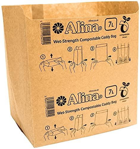 Alina Kompostierbare Papier-Müllbeutel für 6 - 8 l Lebensmitteltonne, Biomüll, biologisch abbaubar, braun, 7 l, mit Alina-Kompostieranleitung (evtl. nicht in deutscher Sprache), 50 bags