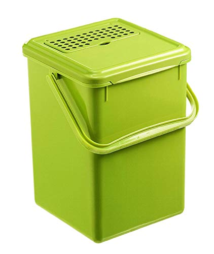 Rotho Bio Komposteimer 8 l mit Aktivkohlefilter, Kunststoff (PP), Hellgrün, 8 Liter (23 x 22,5 x 27,5 cm)