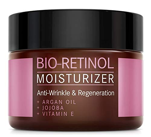 Retinol Moisturizer Creme mit Arganöl, Jojoba und Vitamin E - NATURKOSMETIK VEGAN - 50 ml made in Germany by Mother Nature - feuchtigkeitsspendende Anti-Aging Pflege gegen Falten und Pigmentflecken