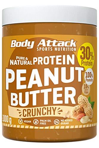 Body Attack Protein Erdnussbutter, Peanut Butter ohne Zucker ohne Zusätze, Erdnussmus ohne Salz, Öl oder Palmfett, natürliche Nussbutter 1000g Crunchy