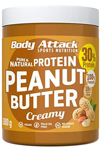 Body Attack Protein Erdnussbutter, Peanut Butter ohne Zucker ohne Zusätze, Erdnussmus ohne Salz, Öl oder Palmfett, natürliche Nussbutter 1000g Creamy