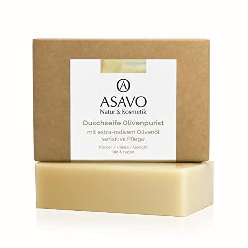 ASAVO Premium Olivenölseife, handgeschöpft mit extra-nativen Bio-Olivenöl, 100{e1c5ea31adf6f60cc9124f2d3ec1ffc83013041ff5a860994890fe4bb480c05b} Naturseife, Olivenseife, ohne Parfum, vegan, ohne Palmöl, 95g