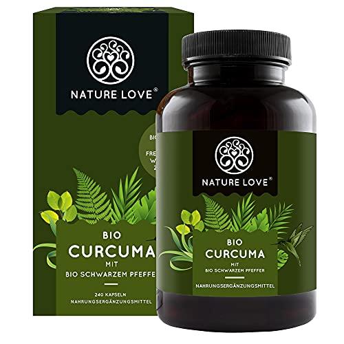 NATURE LOVE® Bio Curcuma - 240 Kapseln. 4540mg Kurkuma + schwarzer Pfeffer je Tagesdosis. Curcumin & Piperin. Laborgeprüft. hochdosiert, vegan, hergestellt in Deutschland