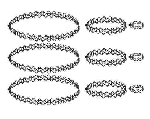 Tattoo Choker Kette Set - Elastische Dehnen Halskette + Armband + Ring, Tattoo Choker Mädchen, Henna Vintage Tattoo Halskette, Boho 80 S 90 S