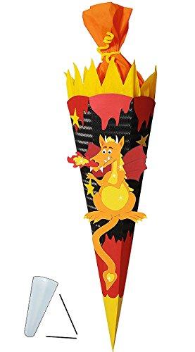 Unbekannt BASTELSET Schultüte -  Drachen  - 85 cm - mit / ohne Kunststoff Spitze - Zuckertüte zum selber Basteln - 6 eckig Jungen Drache Ritter Ritterburg Feuer schwa
