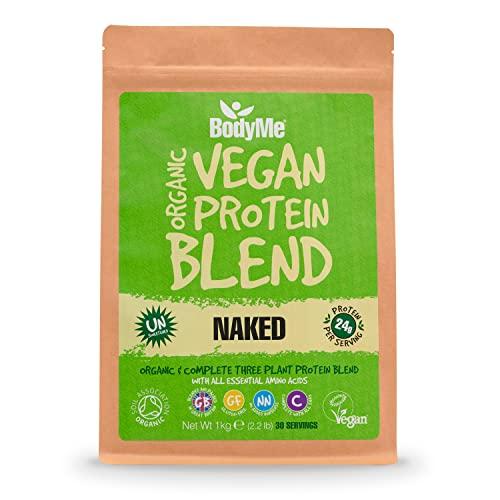 BodyMe Bio Vegan Protein Pulver Mischung | Naked Natürliche | 1Kg | UNGESÜßT mit 3 Pflanze Proteine