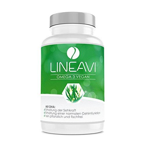 LINEAVI Omega 3 Vegan, hochwertige Omega 3 Fettsäuren aus Algenöl, die pflanzliche Alternative zu Fischölpräparaten, in Deutschland hergestellt, ohne Gelatine, 60 Kapseln (2-Monatsvorrat)