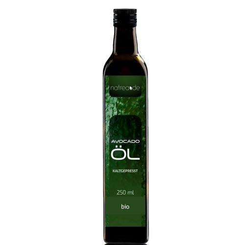 Natrea Avocadoöl  kaltgepresst ✅ 100{4b249000e11ab35b9271e63912177470d3752aa6a784cf7d0947627292d9a70a} reines BIO-Öl ✅ in 250 ml Lichtschutzflasche (1 x 0,25 l) ✅