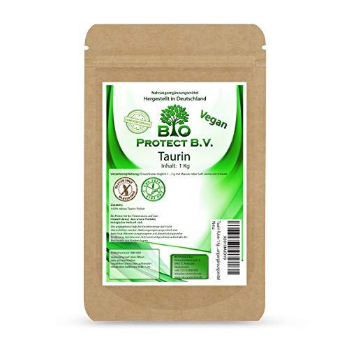 Taurin Pulver 1 Kg 100{2f73daf7c16a71999b202585554442cec93716e7a30150b9ca219b1bc26ed900} rein ohne Zusatzstoffe! 1000g reines Taurin ohne Magnesiumstearat - Bio Protect BV Premium Nahrungsergänzungsmittel