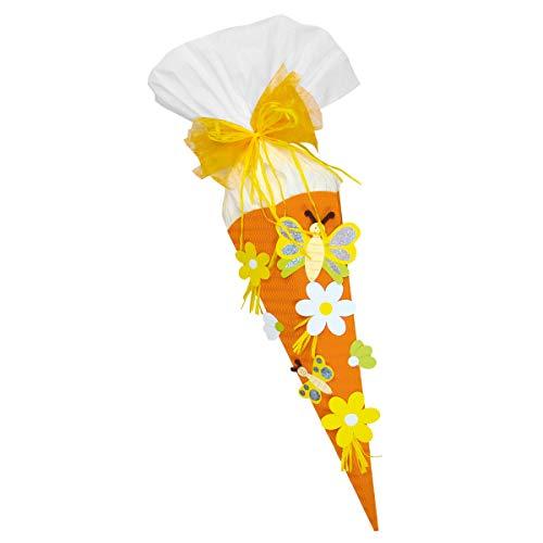 Schultüte Bastelset Schmetterling Blume orange - Zuckertüte - aus 3D Wellpappe, 68cm hoch