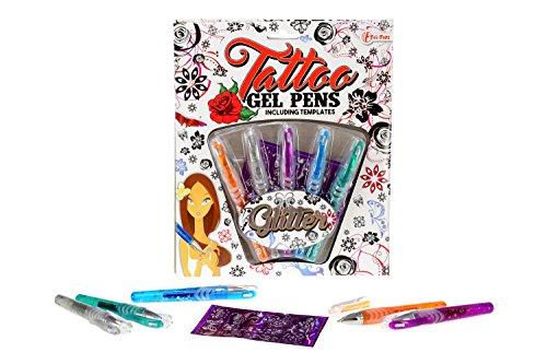 Brandsseller 5 Tatto Glitter Gel Stifte mit Schablone