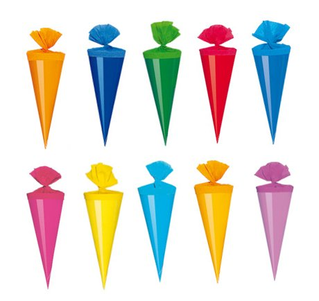 20 Deko Schultüten / Länge: 12cm / 10 verschiedene Farben