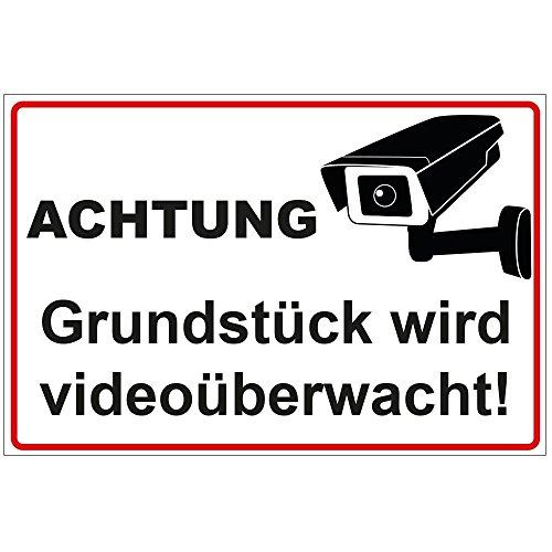 """Schild \""""Achtung - Grundstück wird videoüberwacht\"""" aus Alu / Dibond 200x140 mm 3 mm stark"""