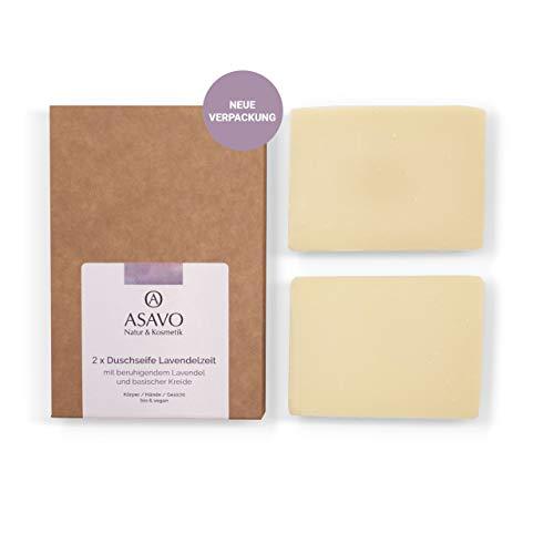 ASAVO Premium Lavendelseife, handgeschöpfte Naturseife, mit Bio-Karitébutter, nativem Bio-Kokosöl & natürlichem Lavendelöl, vegan, ohne Palmöl, 2x95g