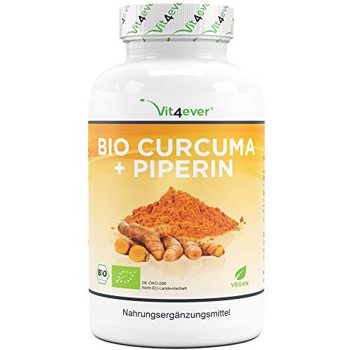 Vit4ever® Curcuma + Piperin - 360 Kapseln je 750 mg - 4500 mg Kurkuma pro Tagesportion - 5{d8fde68b0a8213aa2f7262a3b84f794398d17a58d4a92f78c54f40ced030acc3} Curcumin Extrakt - Schwarzer Peffer Extrakt - Laborgeprüft - Vegan - Hochdosiert